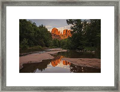 Cathedral Rock Sunset Reflection 4 Framed Print by Lee Kirchhevel