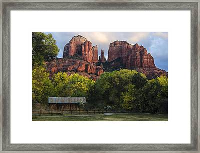 Cathedral Rock With Fall Colors And Rustic Building Framed Print