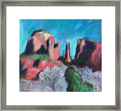 Cathedral Rock With Gray Trees Framed Print