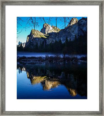 Cathedral Rocks And Bridalveil Falls Framed Print by Scott McGuire