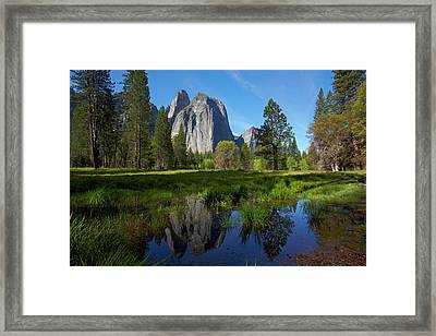 Cathedral Rocks Reflected In A Pond Framed Print by David Wall