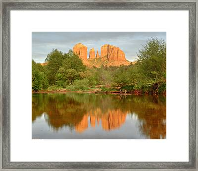 Framed Print featuring the photograph Cathedral Rocks Reflection by Alan Vance Ley