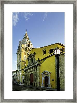 Cathedral Santa Catalina De La Framed Print by Jerry Ginsberg