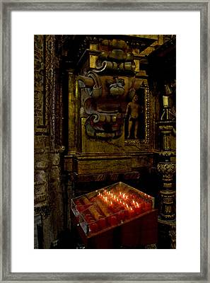 Cathedral Votives Shine Framed Print by Lorraine Devon Wilke