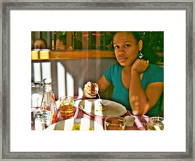 Catherine At The Diner Framed Print by Sarah Loft