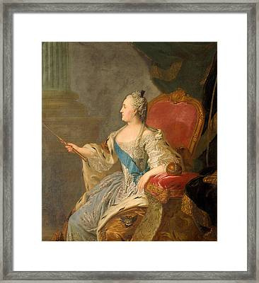 Catherine The Great, 1763 Oil On Canvas Framed Print