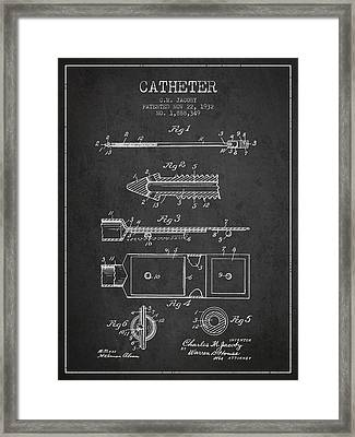 Catheter Patent From 1932 - Charcoal Framed Print by Aged Pixel