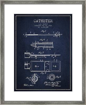 Catheter Patent From 1932 - Navy Blue Framed Print by Aged Pixel