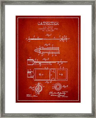 Catheter Patent From 1932 - Red Framed Print by Aged Pixel