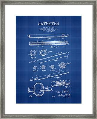 Catheter Patent From 1943 - Blueprint Framed Print by Aged Pixel