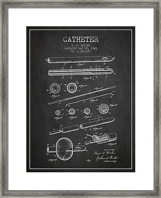 Catheter Patent From 1943 - Charcoal Framed Print