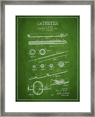 Catheter Patent From 1943 - Green Framed Print by Aged Pixel