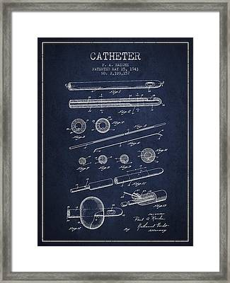 Catheter Patent From 1943 - Navy Blue Framed Print by Aged Pixel