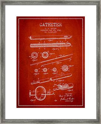 Catheter Patent From 1943 - Red Framed Print by Aged Pixel
