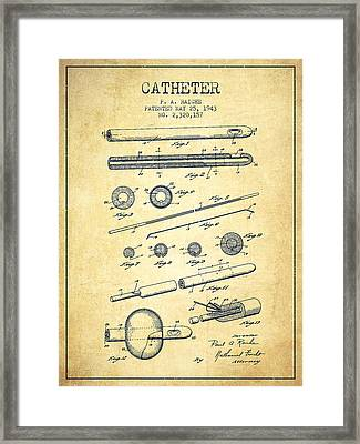 Catheter Patent From 1943 - Vintage Framed Print by Aged Pixel
