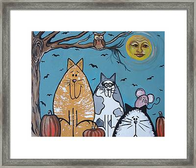 Cats And Harvest Moon Framed Print