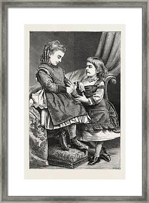 Cats Cradle, Engraving 1876 Framed Print