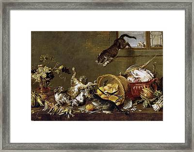Cats Fighting In A Larder Framed Print by Paul de Vos