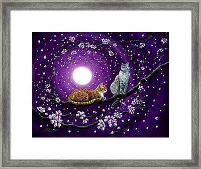 Cats In Dancing Cherry Blossoms Framed Print by Laura Iverson
