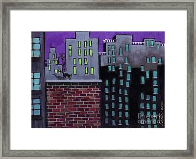 Cat's Night Framed Print