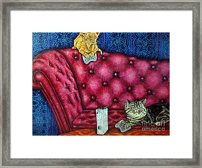 Cats Playing X Box Framed Print by Jay  Schmetz