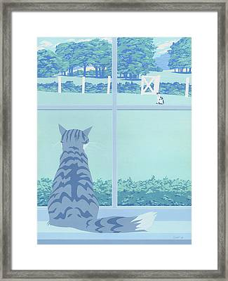Abstract Cats Staring Stylized Retro Pop Art Nouveau 1980s Green Landscape Scene Painting Print Framed Print by Walt Curlee