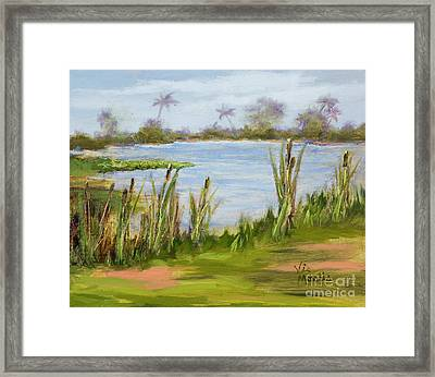 Framed Print featuring the painting Cattails And Palms by Vic  Mastis