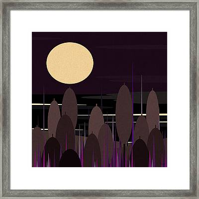 Cattails At Moonlight Bay Framed Print by Val Arie