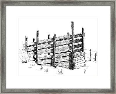 Cattle Chute Ink Framed Print