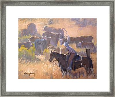 Cattle Drive Framed Print by Sharon Weaver