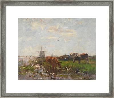 Cattle Grazing Framed Print by Willem Maris