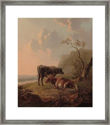 Cattle In An Italianate Landscape Framed Print by Jacob van Strij