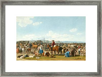 Cattle Market Before A Large City On A Lake Framed Print by Wilhelm von Kobell