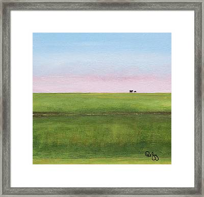 Cattle On The Levee Framed Print