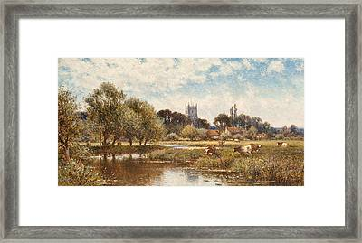 Cattle Watering Framed Print by Alfred Augustus Glendening