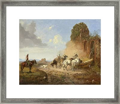 Cattle Watering At A Fountain On The Via Appia Antiqua Framed Print by Heinrich Buerkel