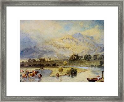 Cattle Watering Framed Print by Myles Birket Foster