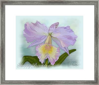Cattleya Orchid Misted Card Framed Print by Linda Allan