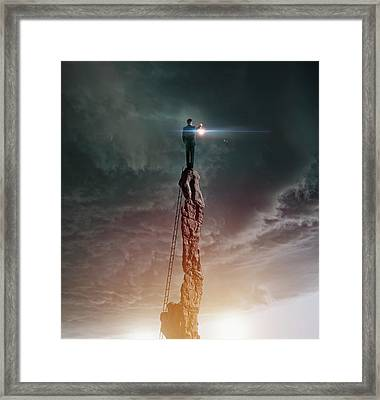Caucasian Man With Lantern On Rocky Framed Print by Colin Anderson Productions Pty Ltd