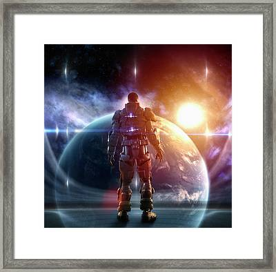 Caucasian Soldier Wearing Glowing Armor Framed Print by Colin Anderson Productions Pty Ltd