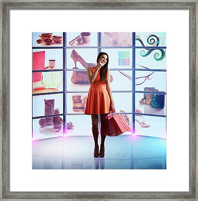 Caucasian Woman Shopping Online Framed Print by Colin Anderson Productions Pty Ltd