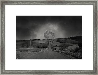 Caution Beautiful Moon Rise Ahead Framed Print