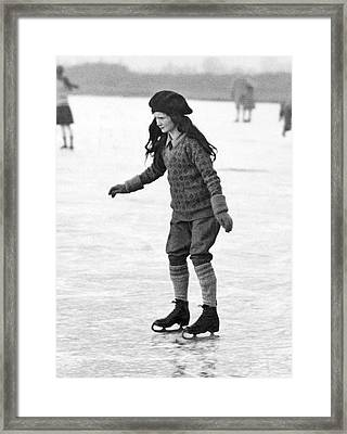 Cautious And Determined Skater Framed Print by Underwood Archives