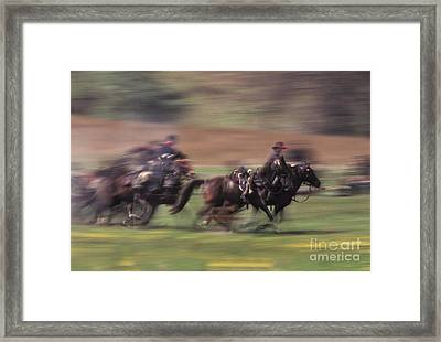Cavalry Battle At A Civil War Framed Print