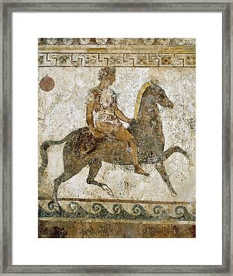 Cavalryman. Funeral Painting With Greek Framed Print by Everett