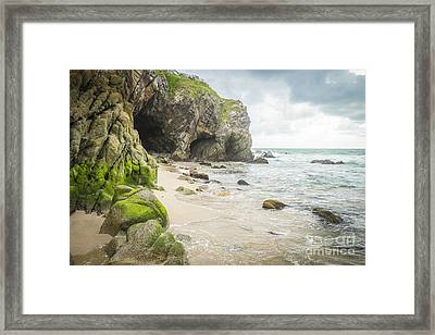 Cave At A Beach Sayulita Mexico Framed Print by Andre Babiak