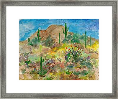 Framed Print featuring the painting Cave Creek Ocotillo Bloom by Elaine Elliott