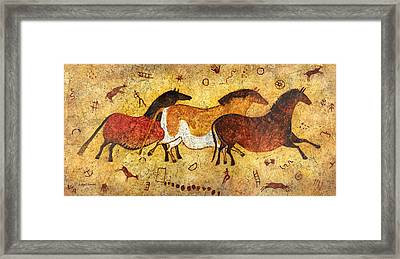Cave Horses Framed Print by Hailey E Herrera