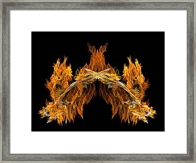 Framed Print featuring the digital art Cave Of The Fire Creature by R Thomas Brass