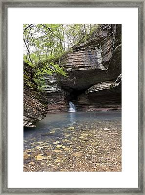 Cave Waterfall Along An Arkansas Trail Framed Print